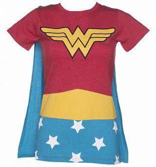 Damer DC Comics undrar kvinna kostym Caped T-Shirt från tyg smaker