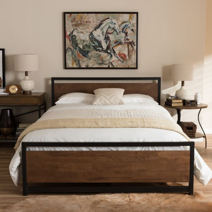 Baxton Studio Gabby Metal And Wood Platform Bed Bed Bath
