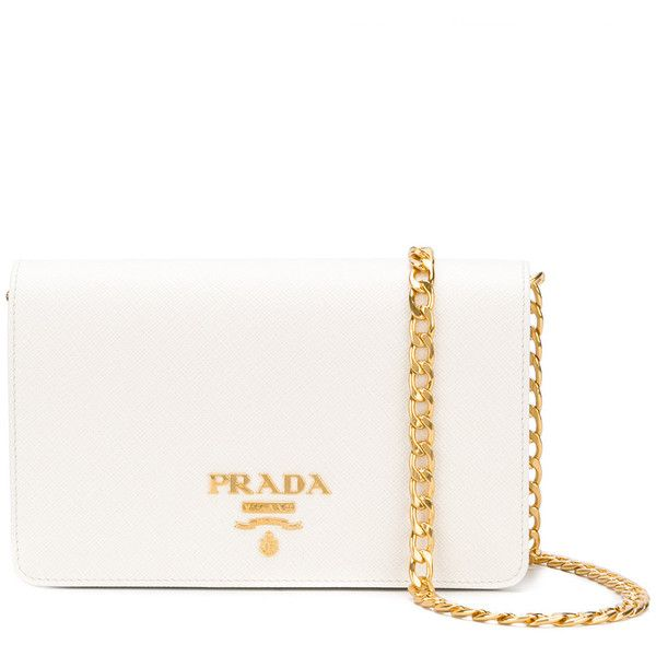 Prada clutch bag ($1,220) ❤ liked on Polyvore featuring bags, handbags, clutches, white, magnetic closure handbags, white purse, embellished purse, chain strap handbags and prada purses