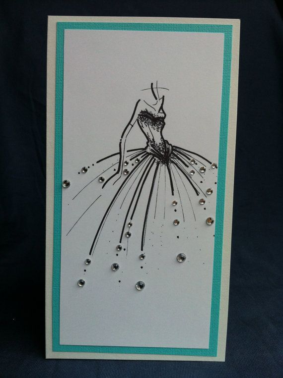 Tiffany Blue & White Dress image with Rhinestones card  door Bermarc, €5.58