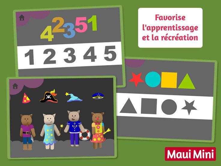 Grâce à ces jeux de glisser-déposer ils reconnaîtront les formes, les nombres, les lettres et les couleurs. Maui Mini App Jeux Interactifs pour les Enfants.