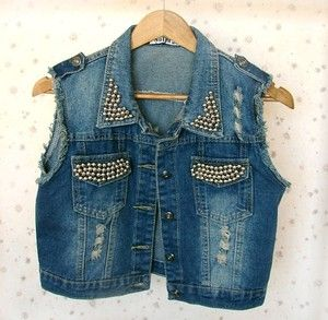 Colete Jeans Spikes