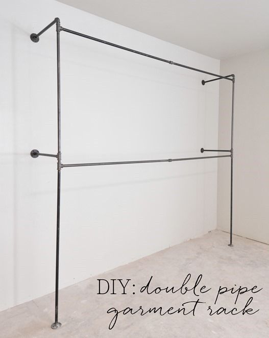 "DIY Black Iron Industrial Pipe Closet Rods for an industrial look in the closet using 1/2"" pipes (plumbing section in Lowe's, pre-threaded, but they can cut and rethread for you), can use a T and another extender in the middle to better support heavy clothes, use Gojo Hand Cleaner Orange with Pumice to clean the dirt and oil off the pipes"