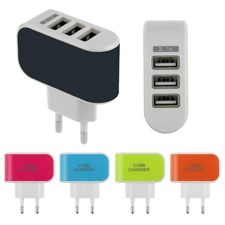 Universal 3.1A EE.UU. Enchufe de LA UE AC Triple Pared de 3 Puertos USB inicio cargador de viaje adaptador para iphone samsung ipad todo el teléfono móvil de carga