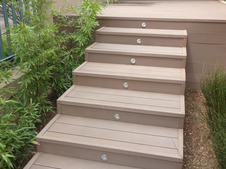 Merbau stairs with deck lights deck and landscape ideas pinterest decking decks and lights for Composite exterior stair treads