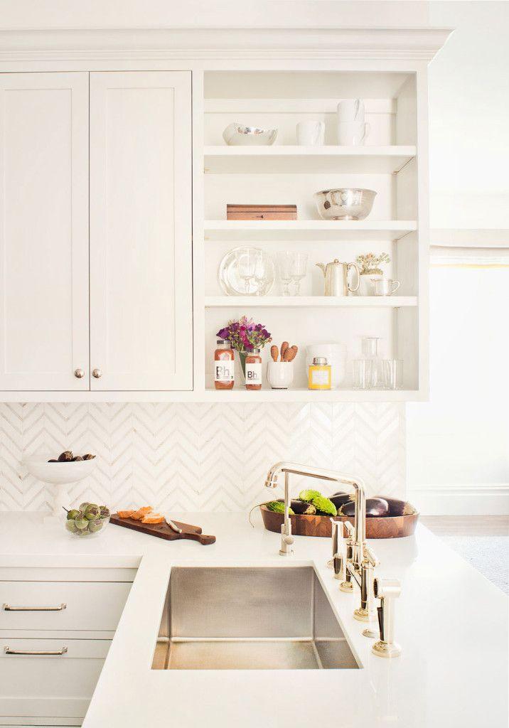 Kitchen Organization - Design Chic Herringbone Marble backsplash, brass hardware with stainless sink