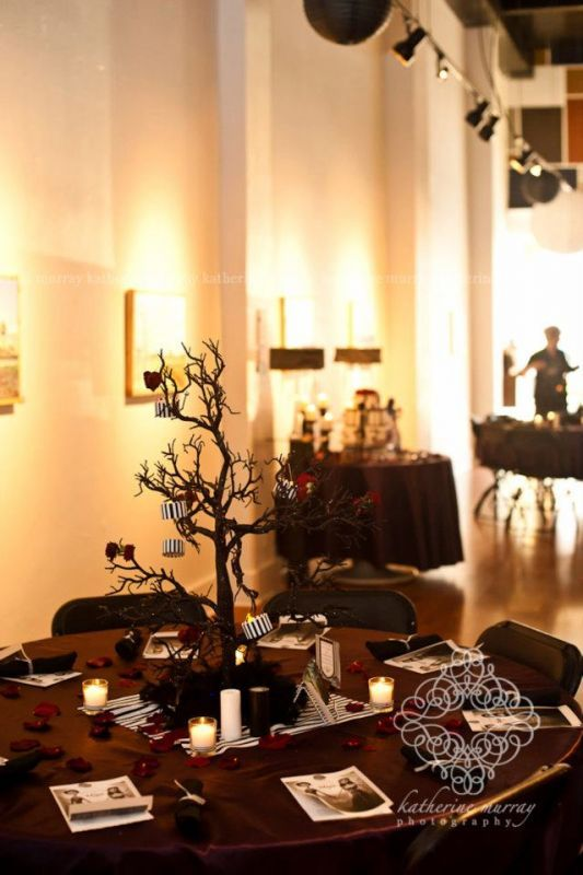 Tim Burton Wedding Trees Black And White Stripes Corpse Bride Diy Eggplant Flowers