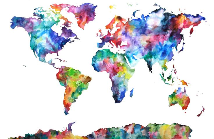 Large Watercolor Map Print, World Map, Watercolor Painting