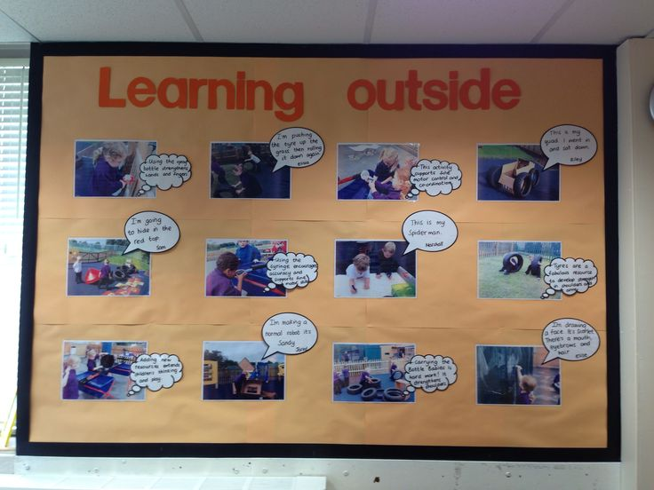 Learning Outside display in my FS2 class. Includes children's speech and adult thoughts.