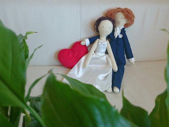 Handmade custom wedding dolls made by photo, bride and groom  dolls, Just married