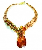 Pineapple Pickings - Swarovski Focal on a crocheted wire rope adorned by Swarovski beads and pearls.