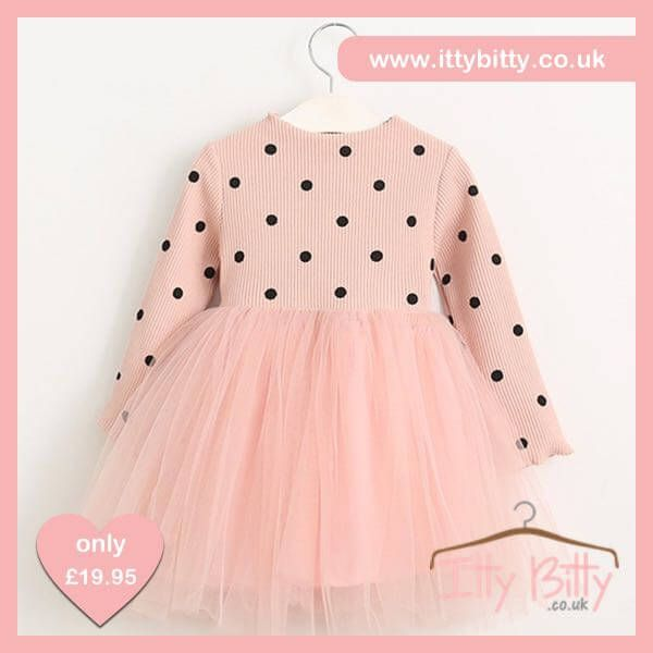 1 LEFT IN STOCK | AGE 3  Shop here 👉🏻https://www.ittybitty.co.uk/product/itty-bitty-pink-black-dots-long-sleeve-dress/?utm_content=bufferd146d&utm_medium=social&utm_source=pinterest.com&utm_campaign=buffer  🅿️ PayPal or 💳 Credit/Debit card 🔐Secure website #girls #dress #pink #princess
