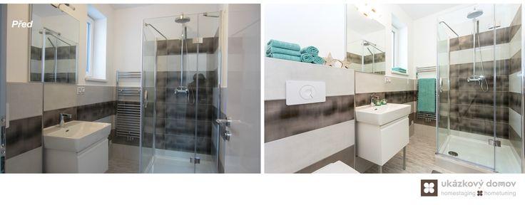 Home Staging nezařízeného rodinného domu v Praze #praha #prague #czech #homestaging #pred #po #before #after #white #walls #novostavba #bathroom #brown #tiles #shower #blue #cz
