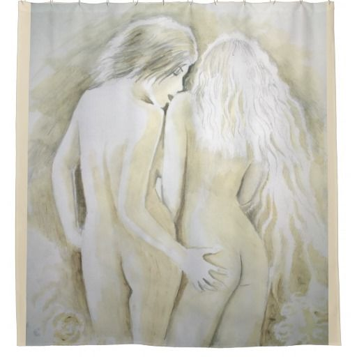 Lesbian lovers shower curtain