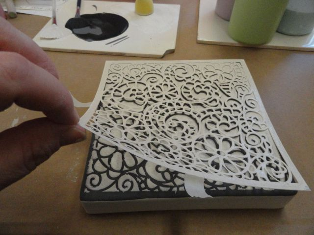 2. how to use crafter's workshop stencils on pottery - white sponged over stencil