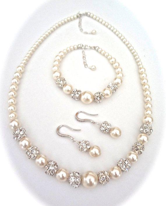 Bridal Jewelry - Pearl jewelry set - 3 piece ~ Swarovski pearls and crystals  ~ Brides Jewelry set ~ BEST SELLER ~ DESTINY