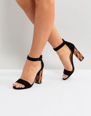 8d6433a8e924a0 Glamorous Block Heeled Sandal With Patterned Block in Black