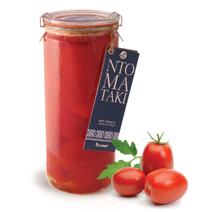 Γλυκό του κουταλιού Ντοματάκι πομοντόρο με ελληνικό καρπό. Χωρίς γλουτένη. Σε επώνυμο γυάλινο βάζο ανώτερης ποιότητας, κατάλληλο και για οικιακή χρήση. | Pomodoro tomato spoon sweet with greek fruit. Gluten free