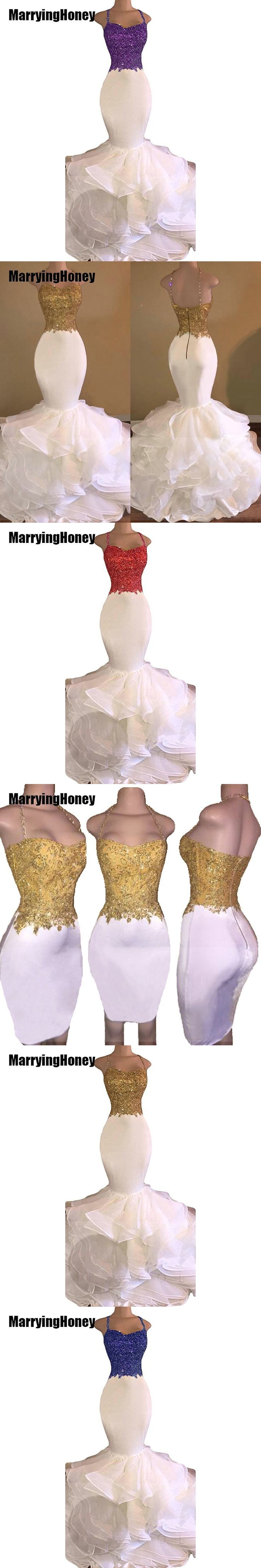 Mermaid White and Gold Prom Dresses 2017 Spaghetti Strap Appliques Lace Ruffles Organza Backless Long African Prom Dress