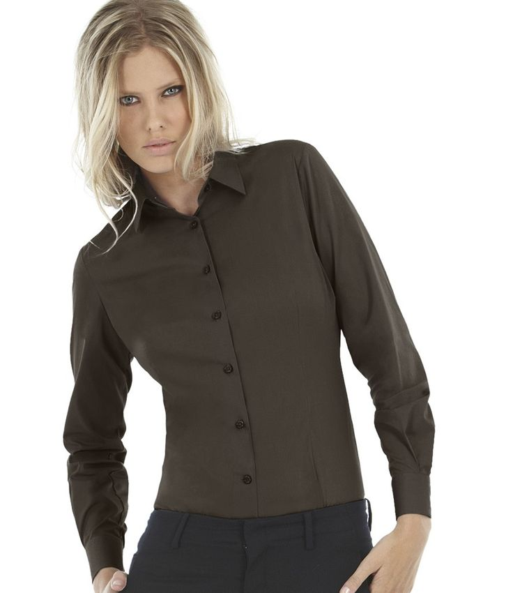 d78be6f3dbfb1 B C Ladies Black Tie Long Sleeve Shirt http   www.impogo.co · EstufaCamisas  De Manga LargaGéneroPopelín