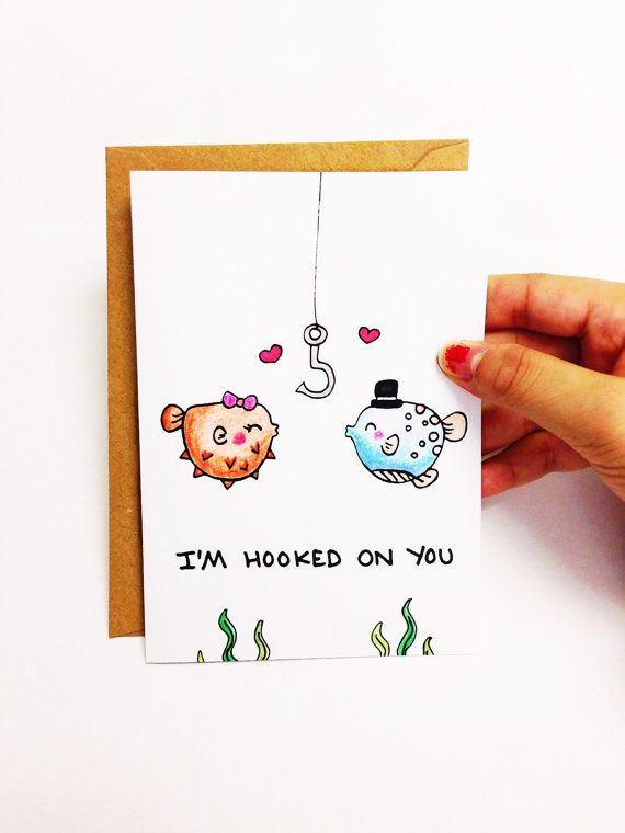 anniversary card anniversary card for boyfriend anniversary card for husband funny love card cute love card fish card hooked on you for joseph