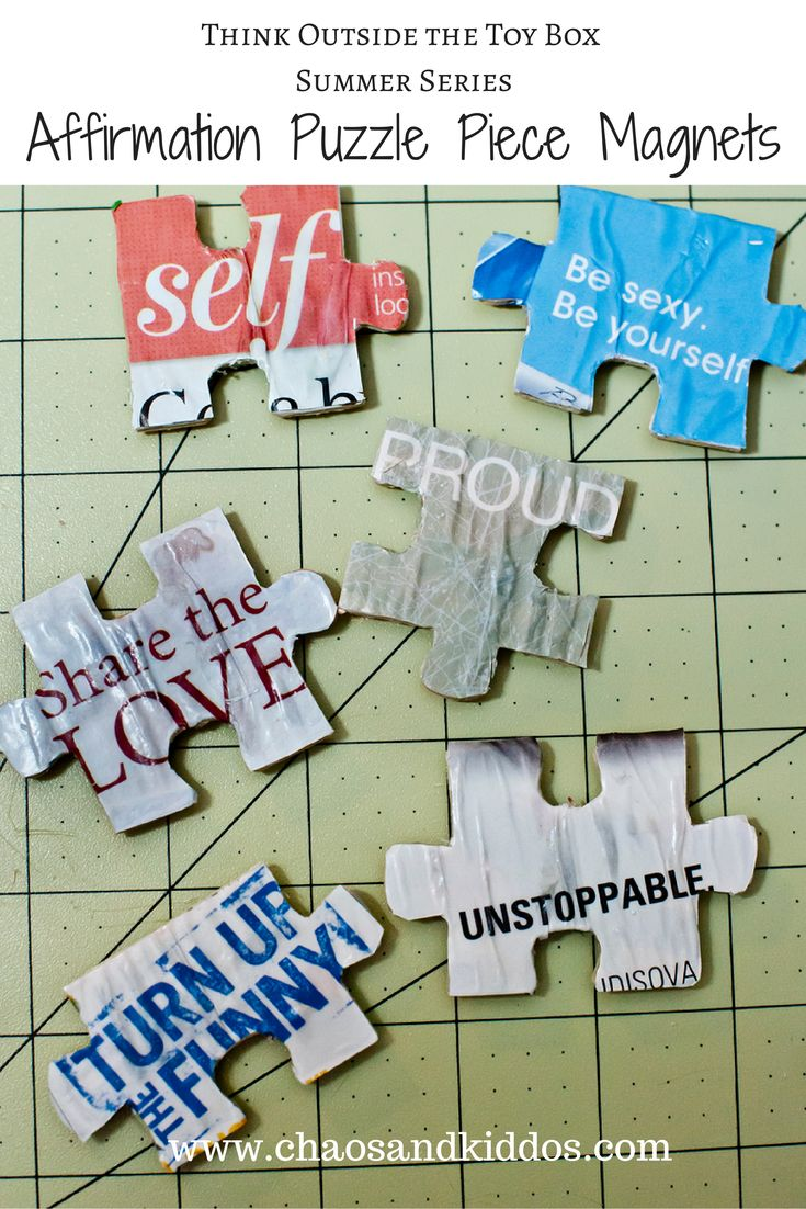 Think Outside The Toy Box: Puzzle Piece Affirmation Magnets