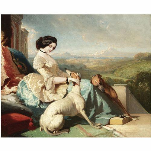 PROPERTY OF A LADY Alfred de Dreux French, 1810-1860 FRENCH CHÂTELAINE ASSISE AVEC LES LÉVRIERS SUR LA TERASSE D'UN CHATEAU EN ECOSSE