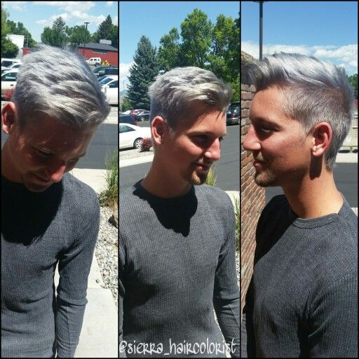 Silver haircolor. Titanium hair. Men's haircut. Men's hairstyle. L'anza haircolor.