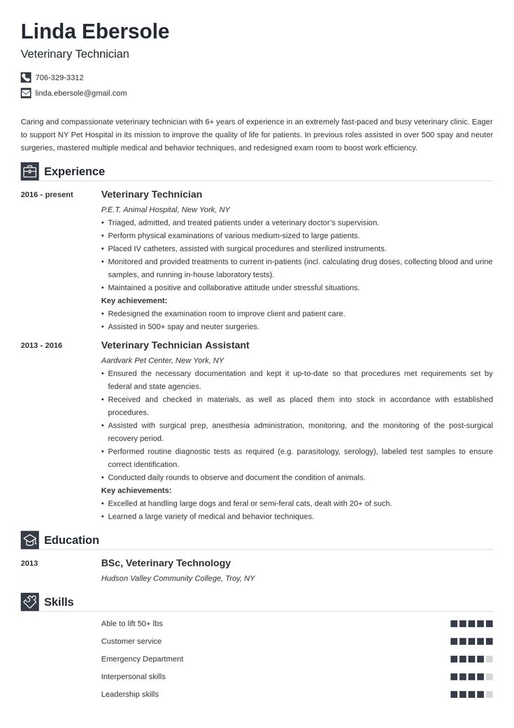 veterinary technician resume example template iconic  job