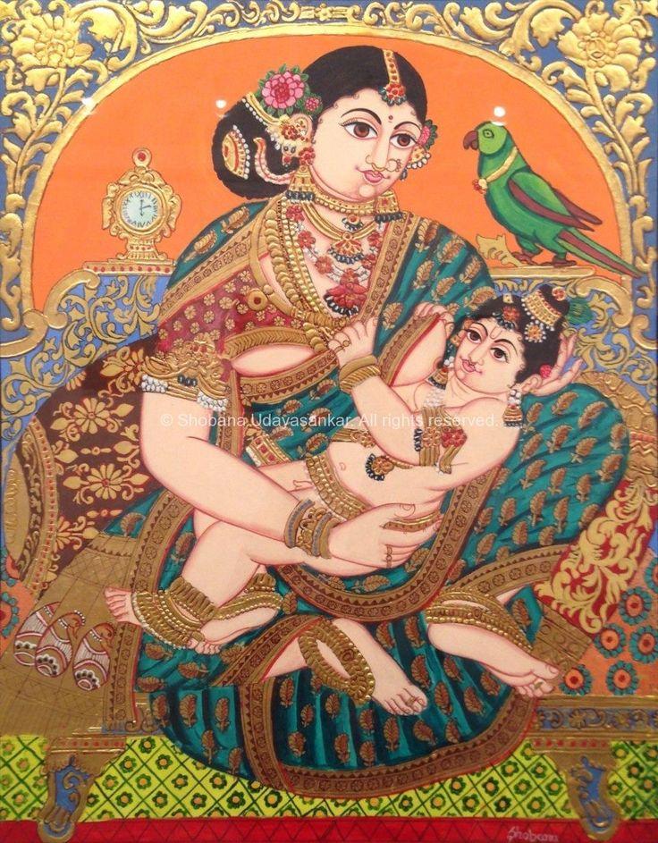 Yashoda - Krishna - Mysore Paintings