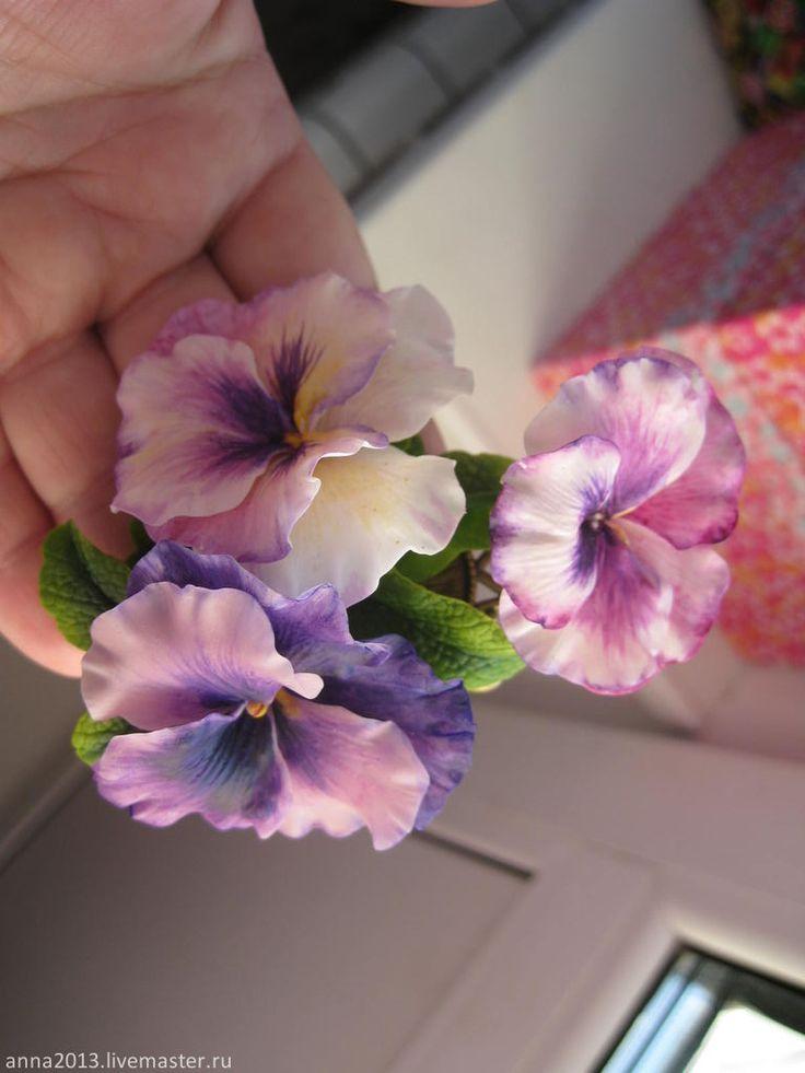"""Купить """"Анютины глазки"""" - розовый, сиреневый, фиолетовый, брошь, брошь с цветами, анютины глазки"""