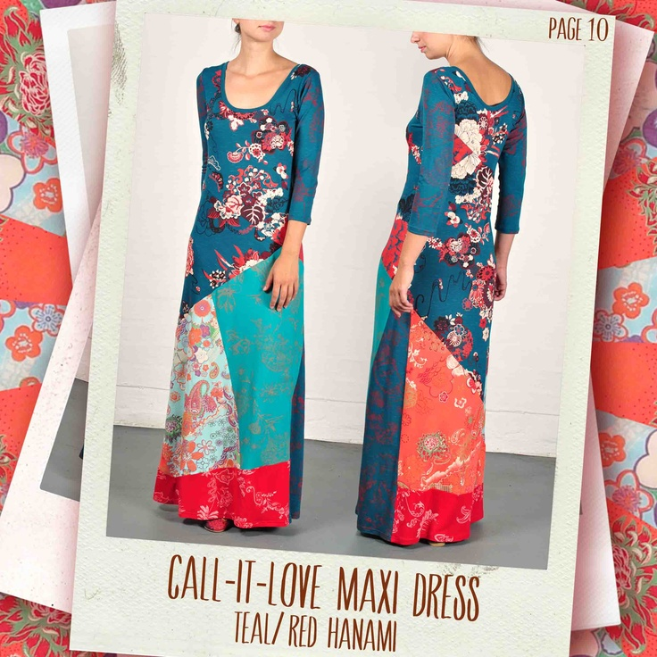 Call-it-Love maxi dress in Teal/ red Hanami