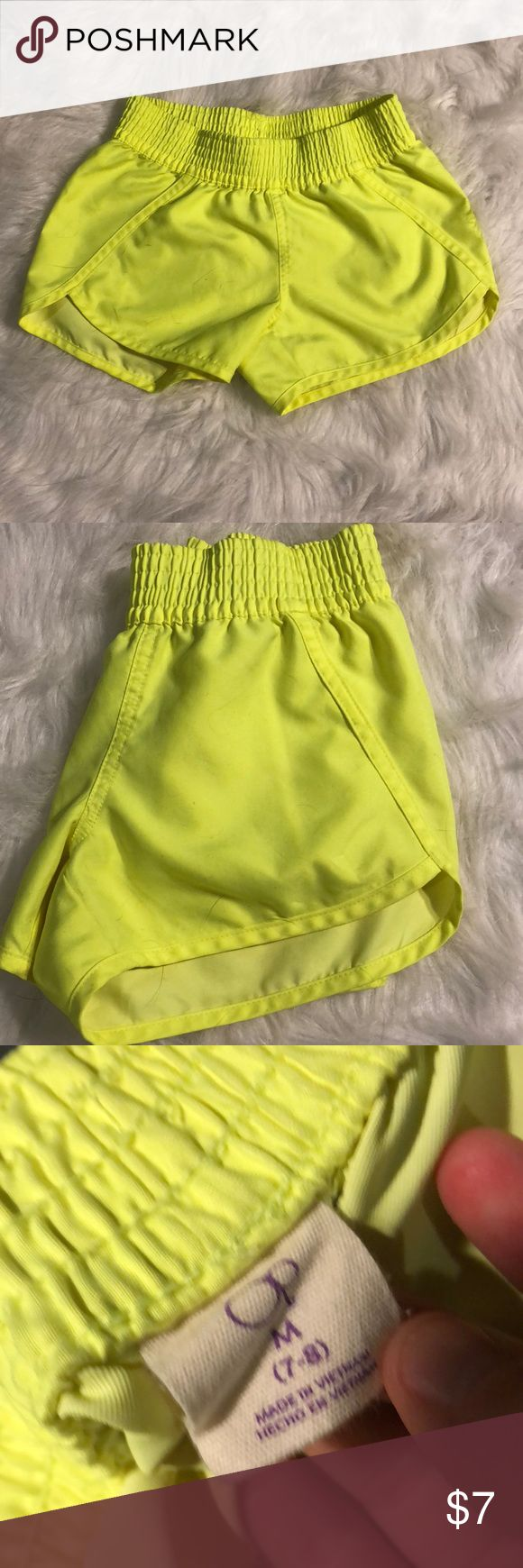 Girls neon yellow shorts Worn once or twice. Perfect condition. Bottoms Shorts