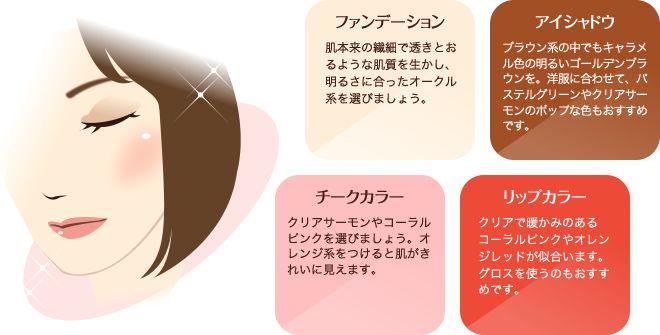 ファンデーション:肌本来の繊細で透きとおるような肌質を生かし、明るさに合ったオークル系を選びましょう。/アイシャドウ:ブラウン系の中でもキャラメル色の明るいゴールデンブラウンを。洋服に合わせて、パステルグリーンやクリアサーモンのポップな色もおすすめです。/チークカラー:クリアサーモンやコーラルピンクを選びましょう。オレンジ系をつけると肌がきれいに見えます。/リップカラー:クリアで暖かみのあるコーラルピンクやオレンジレッドが似合います。グロスを使うのもおすすめです。