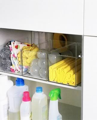nice looking cleaning supply organization