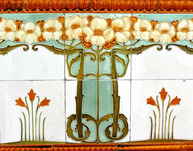 Best 20 art nouveau interior ideas on pinterest art for Art nouveau tile mural