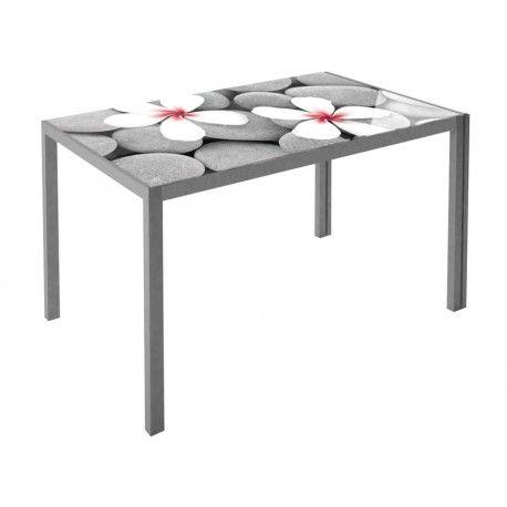 Mesa para cocina estructura con recubrimiento gris epoxi-poliester y encimera de cristal templado:      Ancho: 60 cm     Largo: 105 cm     Alto: 75 cm