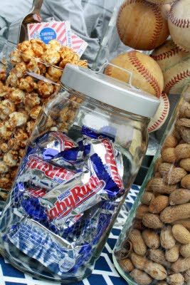 Baseball themed birthday party or boy baby shower...personally I don't like baby ruth's but for a baseball themed shower they are must!
