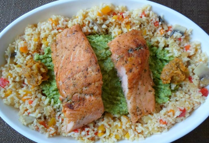 His Domesticated Culinarian: Chilled Salmon on Avocado with Rice Salad and Tang...