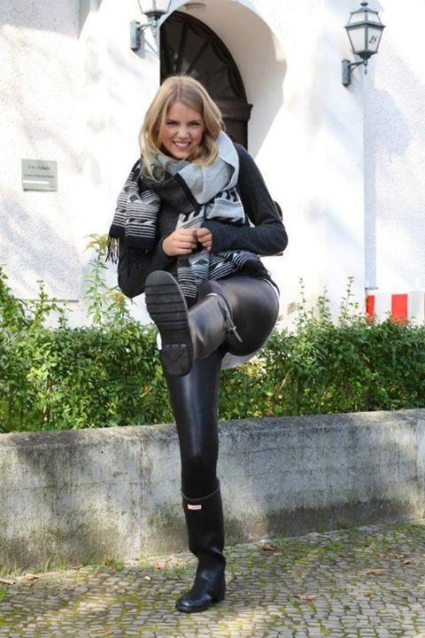 Hunter Rubber boots and shiny leggings