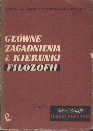 Główne zagadnienia i kierunki filozofii. Część pierwsza. Teoria poznania. Wykłady na Uniwersytecie Warszawskim 1957-1958, Adam Schaff, PWN, 1965, http://www.antykwariat.nepo.pl/glowne-zagadnienia-i-kierunki-filozofii-czesc-pierwsza-teoria-poznania-adam-schaff-p-14395.html