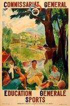 Sports Education France Art Deco Tennis Swimming Athletics