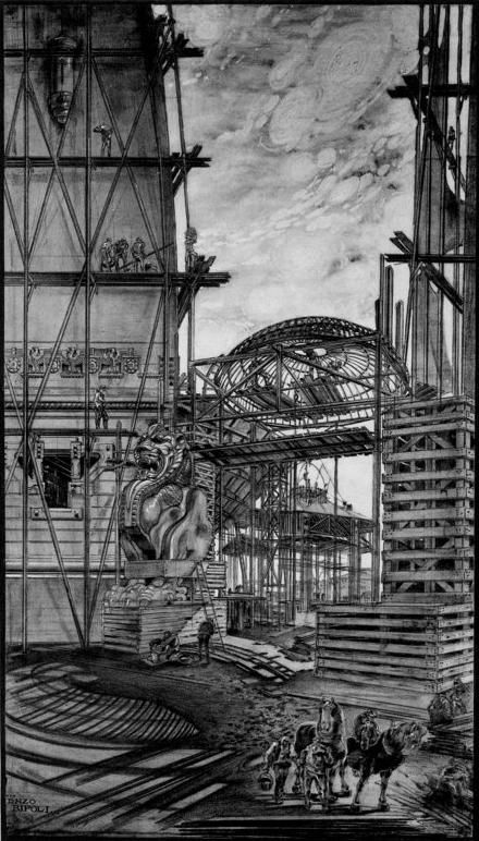 Drawing by Enzo Bifoli depicting the erection of some fantastic symbolist-art nouveau edifice we will never, alas, get to see.