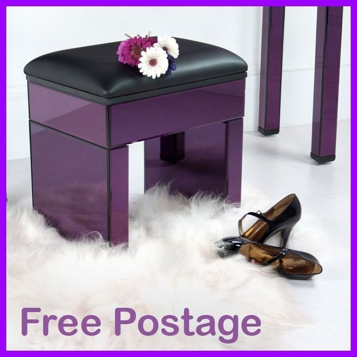 Purple Mirrored Dressing Table Stool Modern Bedroom Glass Vanity Make Up  Seat