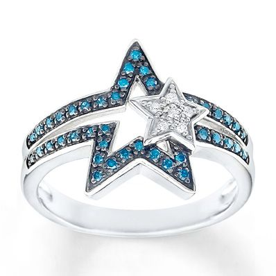 What fireworks? You'll be the star at your July 4th festivities with this blue diamond ring.