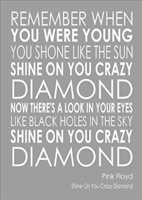 I am selling the lyrics to Shine On You Crazy Diamond - Pink Floyd - Various Sizes, Colours And Options Available As A Poster, Print, Canvas or Framed.