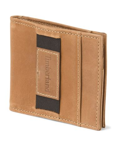 Leather Mens Wallet - Timberland - camel