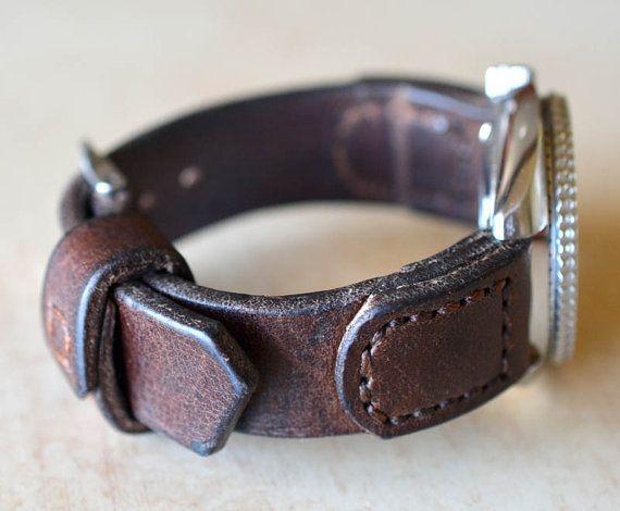 Heavy brown leather watch strap handmade by VladislavKostetskyi