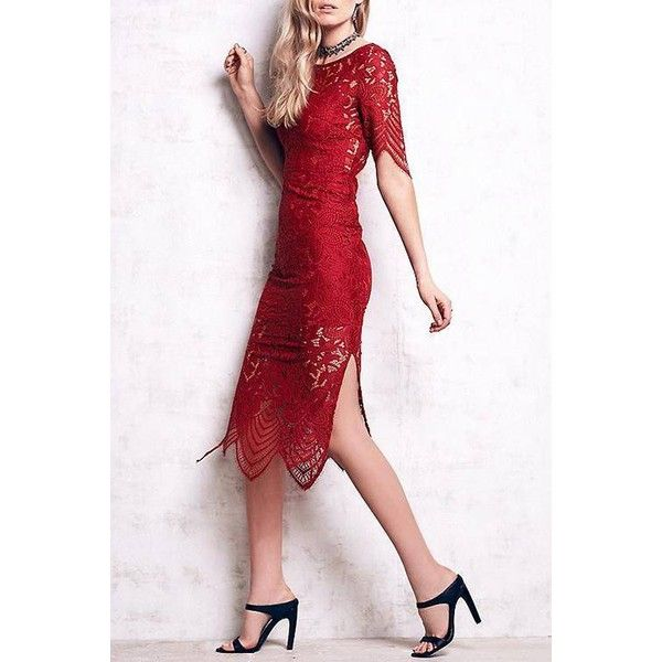 Yoins Yoins Red Lace Midi Dress ($28) ❤ liked on Polyvore featuring dresses, red, lacy red dress, red dress, lacy dress, calf length dresses and midi dress