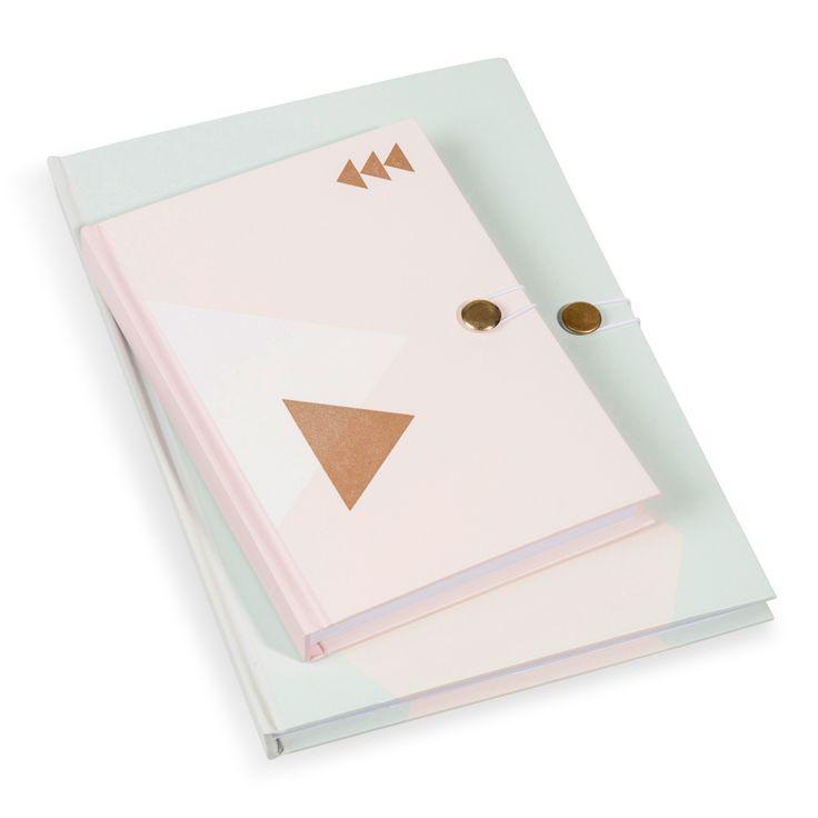 2 carnets de notes vert/rose MALVINA